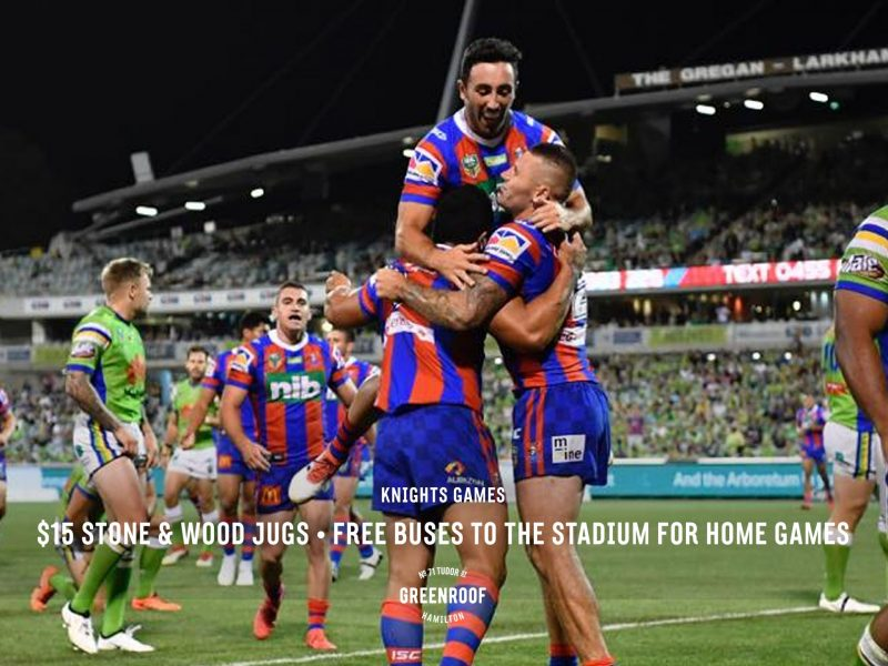 Knights Games • $15 Stone & Wood Jugs • Free Buses to the Stadium for Home Games